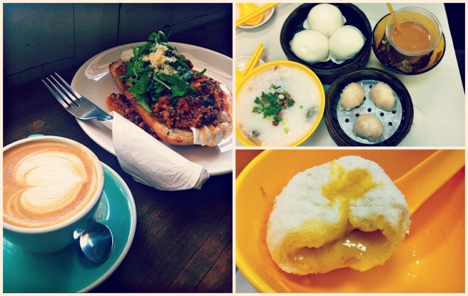 週五菜單: Chye Seng Huat Hardware: Italian Poached Eggs Victor's Kitchen: 皮蛋粥/蝦餃/流沙包/港式奶茶
